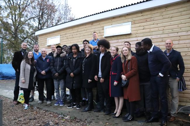 Kinetic volunteers build new changing rooms at Croydon FC